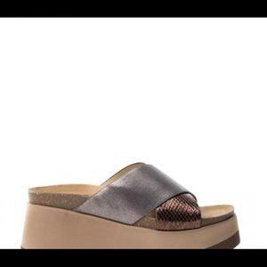 Xti platform sandals pewter bronce 7